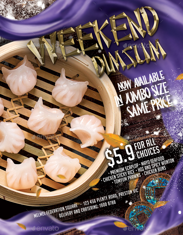 Chinese Dimsum Dumpling Restaurant Menu Flyer Template With 3 Different Size
