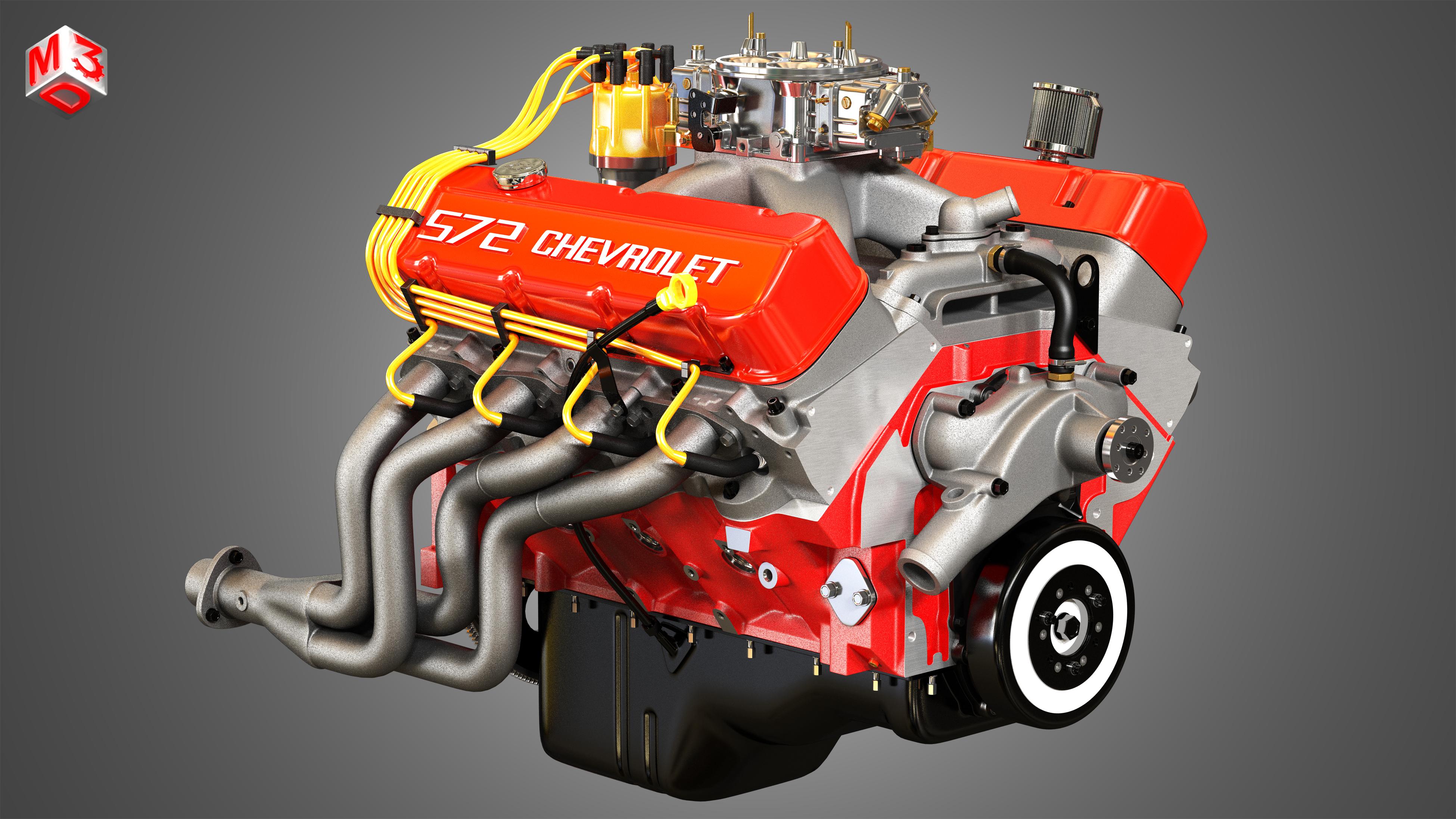 Chevrolet 572 V8 Muscle Engine 3d Model
