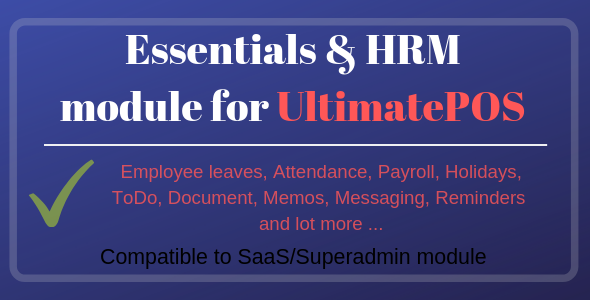 Essentials & HRM (Human resource management) Module for UltimatePOS