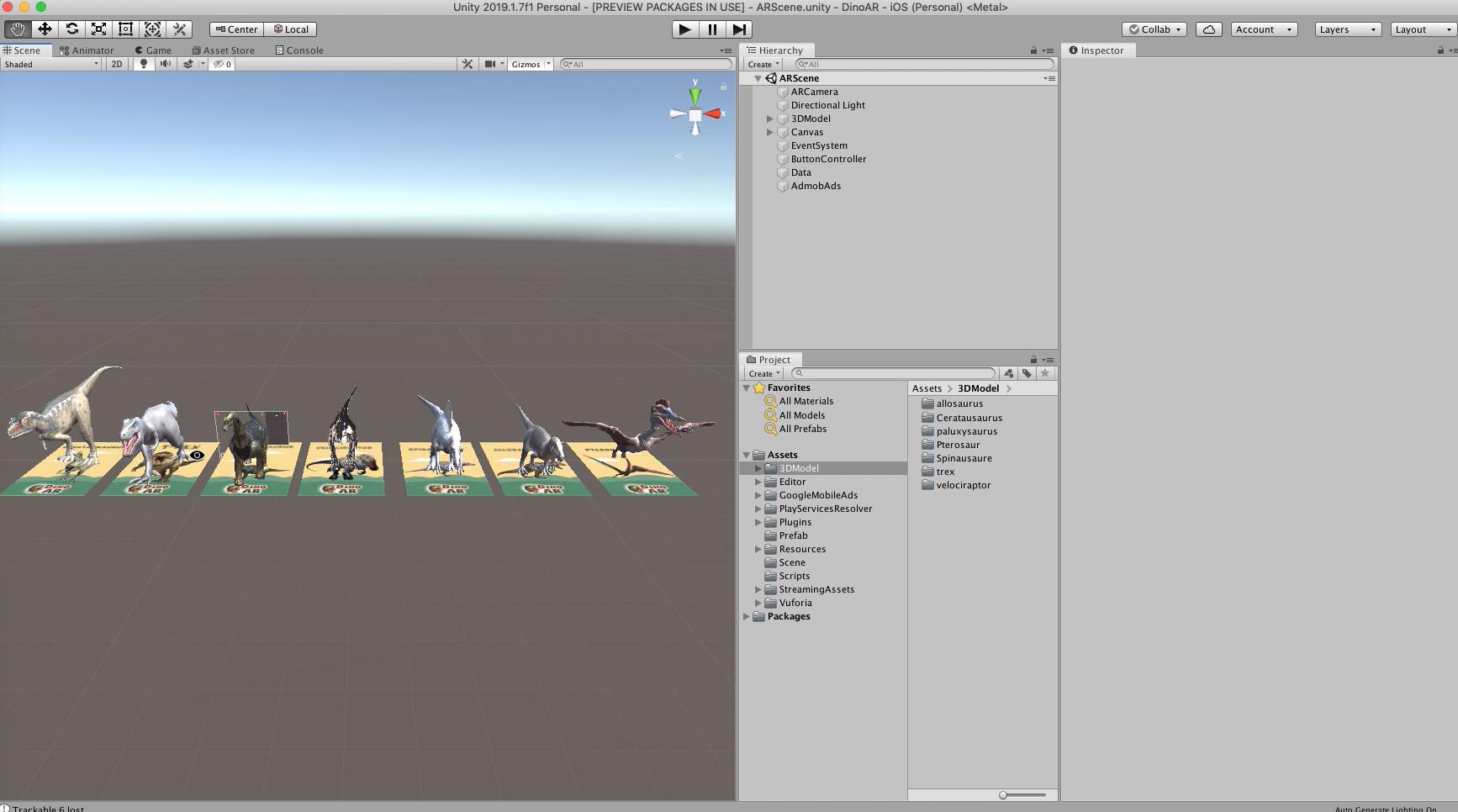 DinoAR Dinosaurs | Augmented Reality App Kit Unity