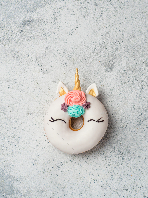 Unicorn donut with copy space - Stock Photo - Images