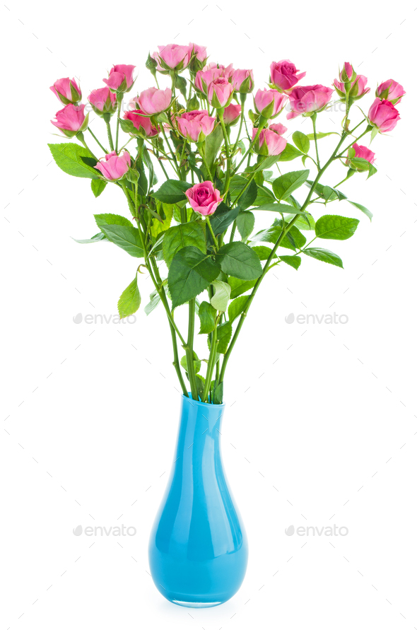 Bunch of tiny pink roses in a blue ceramic vase - Stock Photo - Images