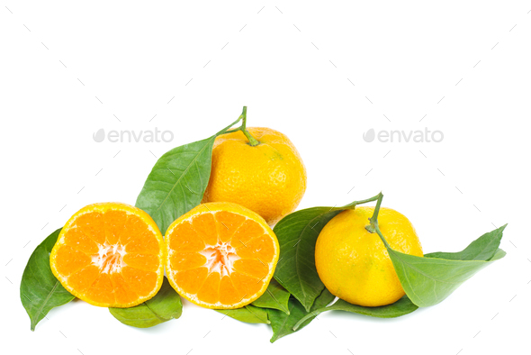 Mandarines, tangerine or clementine with leaves isolated on white background - Stock Photo - Images