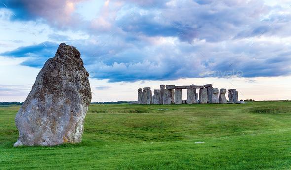 Dusk over Stonehenge - Stock Photo - Images