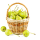 Fresh green pears in wicker baskets isolated on white background - PhotoDune Item for Sale