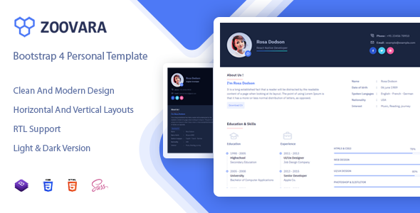 Zoovara - Personal Resume / CV Template