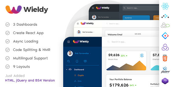Wieldy - React Admin Template Ant Design and Redux
