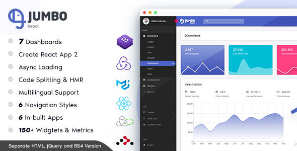 Jumbo React - Redux Material BootStrap Admin Template