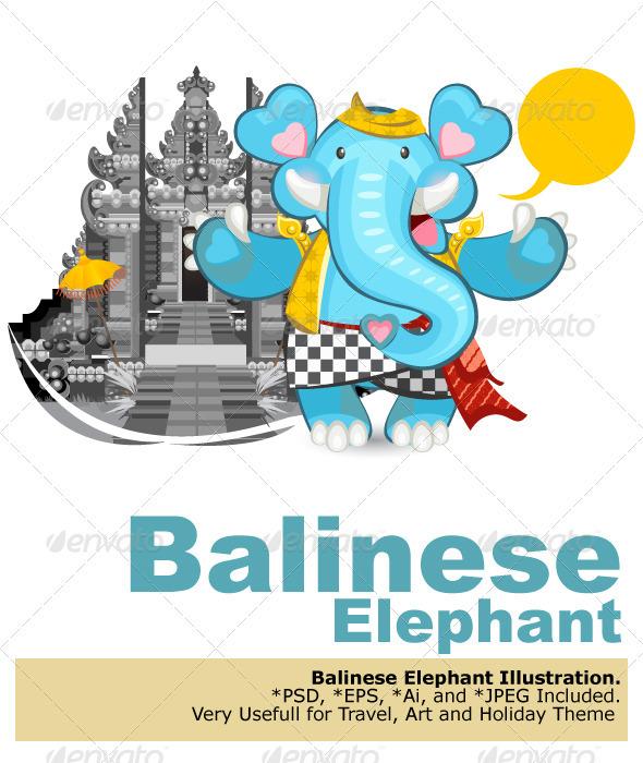 Balinese Ganesha Blue Elephant - Travel Conceptual