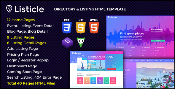Listicle - Directory & Listing HTML Template by themecycle