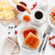 breakfast with waffle, toast, berry, jam, chocolate spread and c - PhotoDune Item for Sale