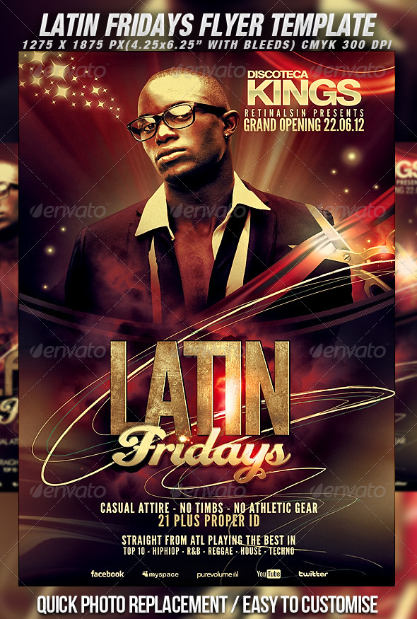 Latin Fridays Flyer Template - Clubs & Parties Events