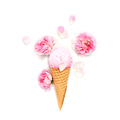 Pink Ice Cream Decorated with Roses - PhotoDune Item for Sale