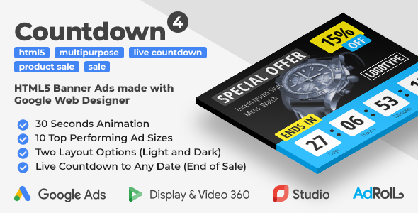 Countdown 4 - Product Sale HTML5 Banner Ad Templates with Live Countdown (GWD, jQuery)