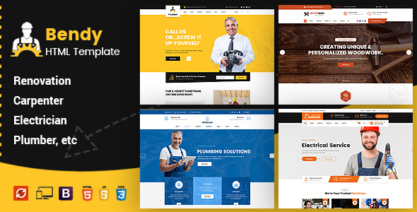 Bendy - Handyman Business HTML Template by ThemeKalia