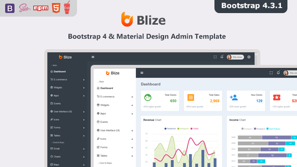 Blize - Bootstrap 4 Material Design Admin Dashboard Template by redstartheme