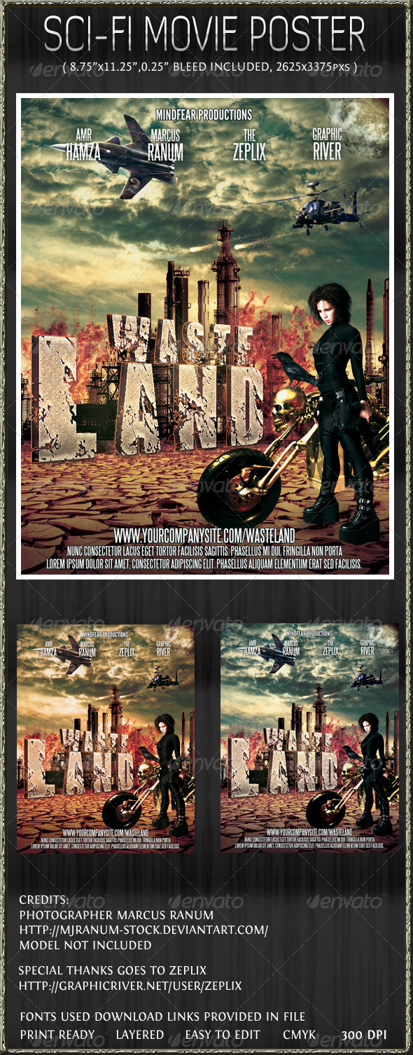 WasteLand action sci-fi poster template - Miscellaneous Print Templates