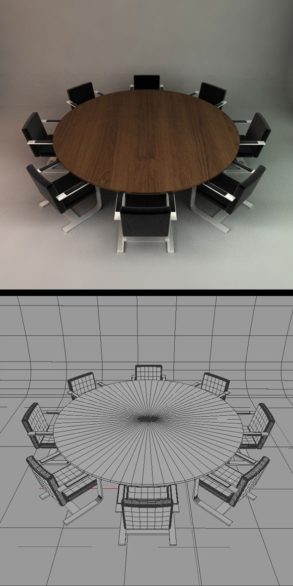 Office Conference Table and Chairs - 3DOcean Item for Sale
