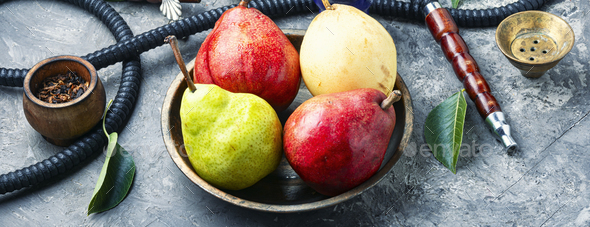 Asian shisha with pear tobacco - Stock Photo - Images