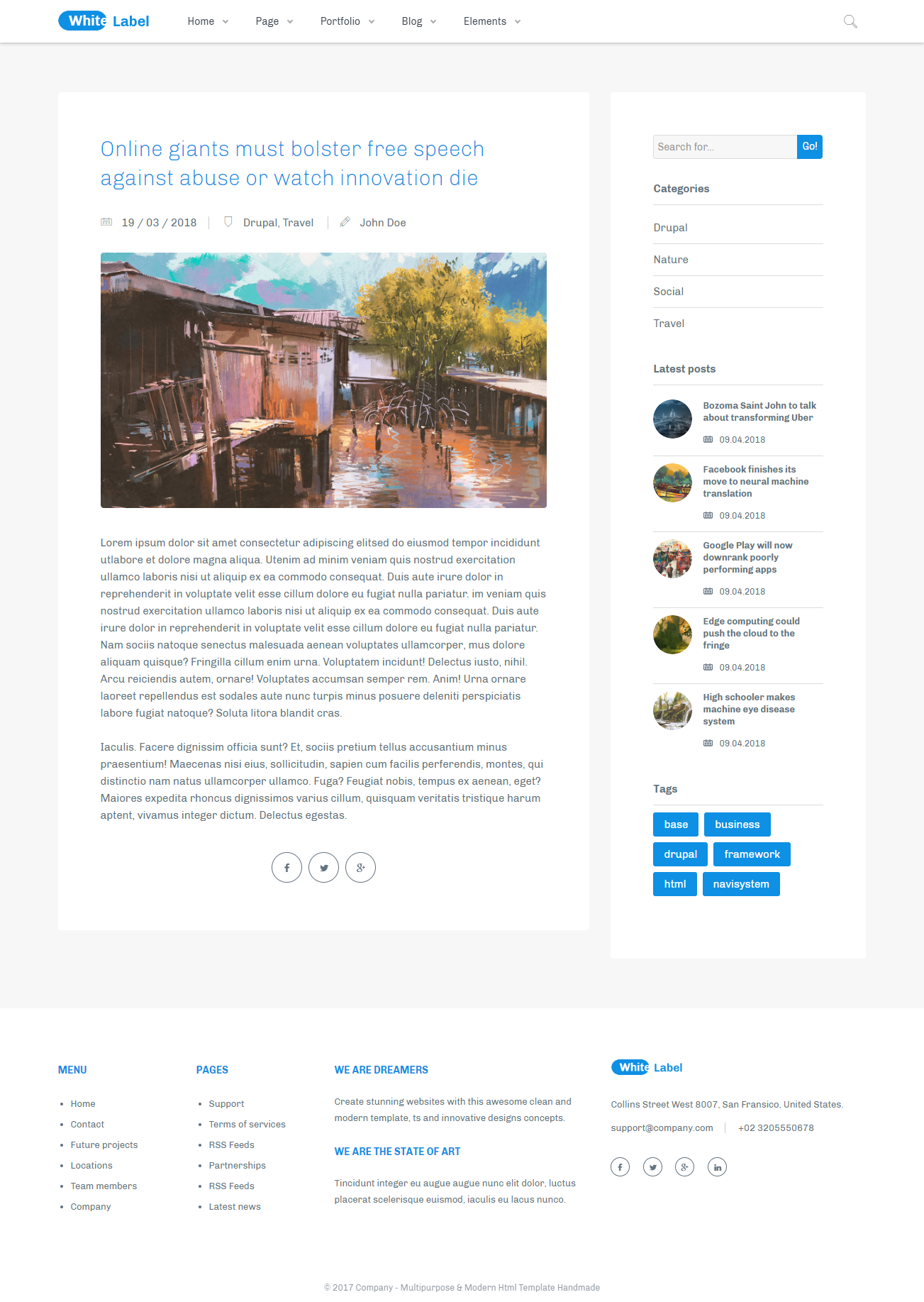 White Label - Clean Drupal 8 7 theme for Modern Web Businesses
