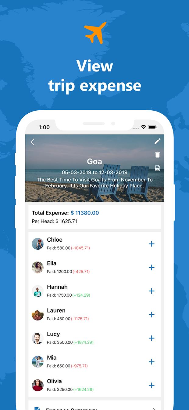 Travel Expense Dairy - iOS Native mobile app