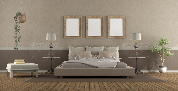 Elegant master bedroom in classic style - Stock Photo - Images