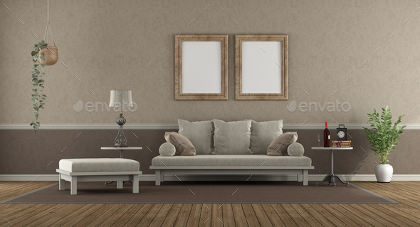 Elegant living room with sofa , footstool and coffee table - 3d rendering - Stock Photo - Images