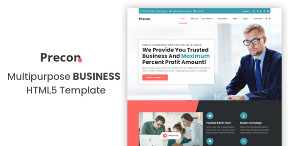 Precon - Multipurpose Business & Agency HTML5 Template by TLamp