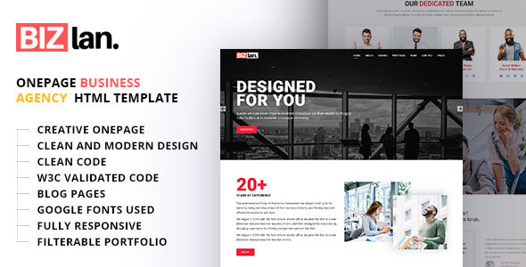 Bizlan - Onepage Business HTML Template