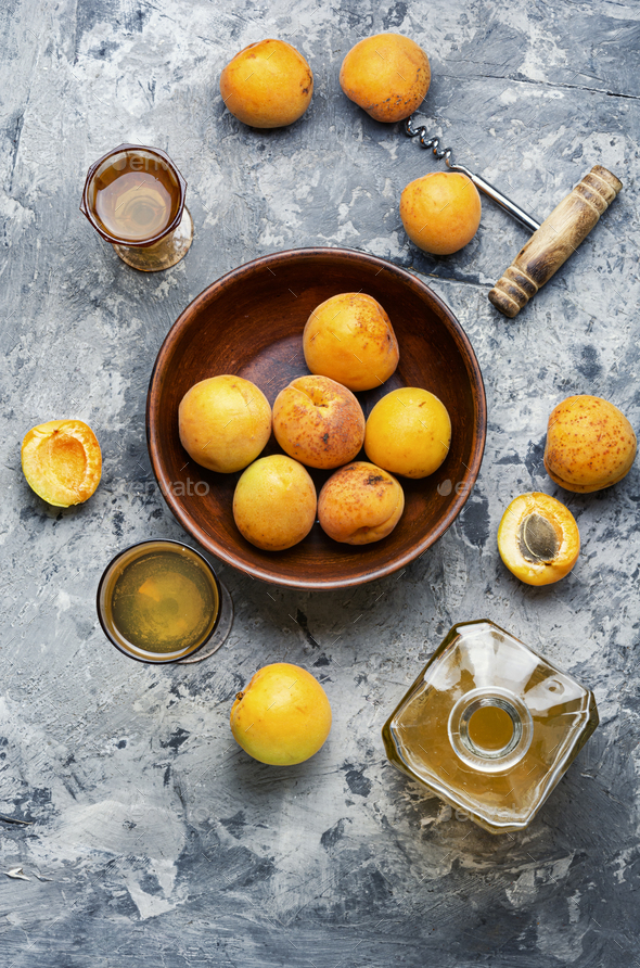Homemade apricot wine - Stock Photo - Images