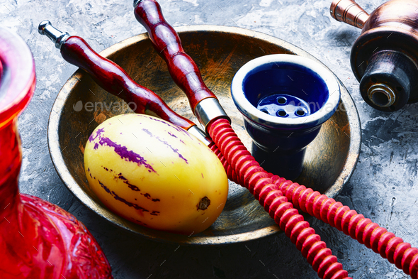 Nargile with pepino tobacco - Stock Photo - Images