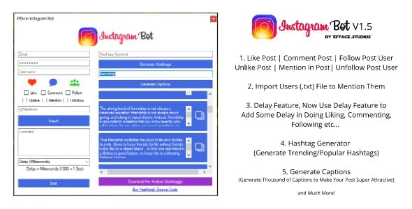 Download Efface Instagram Bot - Get More Instagram Followers
