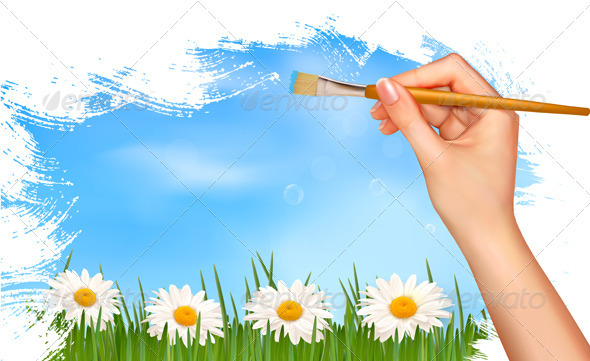 Nature background with hand holding a brush. - Flowers & Plants Nature