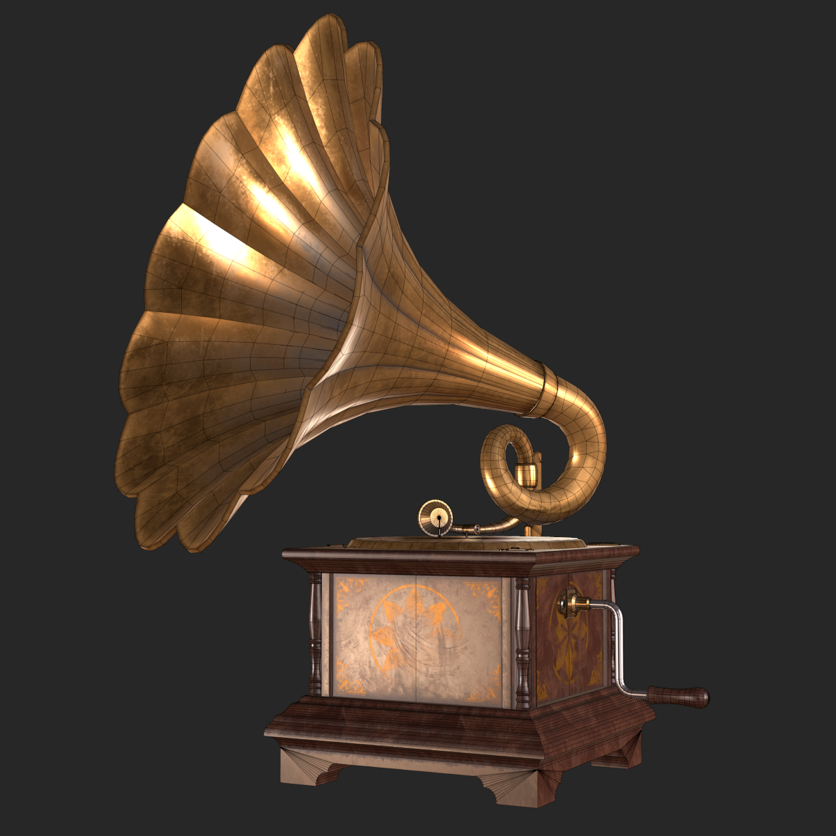 Old Antique Gramophone Pbr By Movart