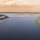 180 degree aerial panorama of Beaufort, South Carolina at sunset. - PhotoDune Item for Sale