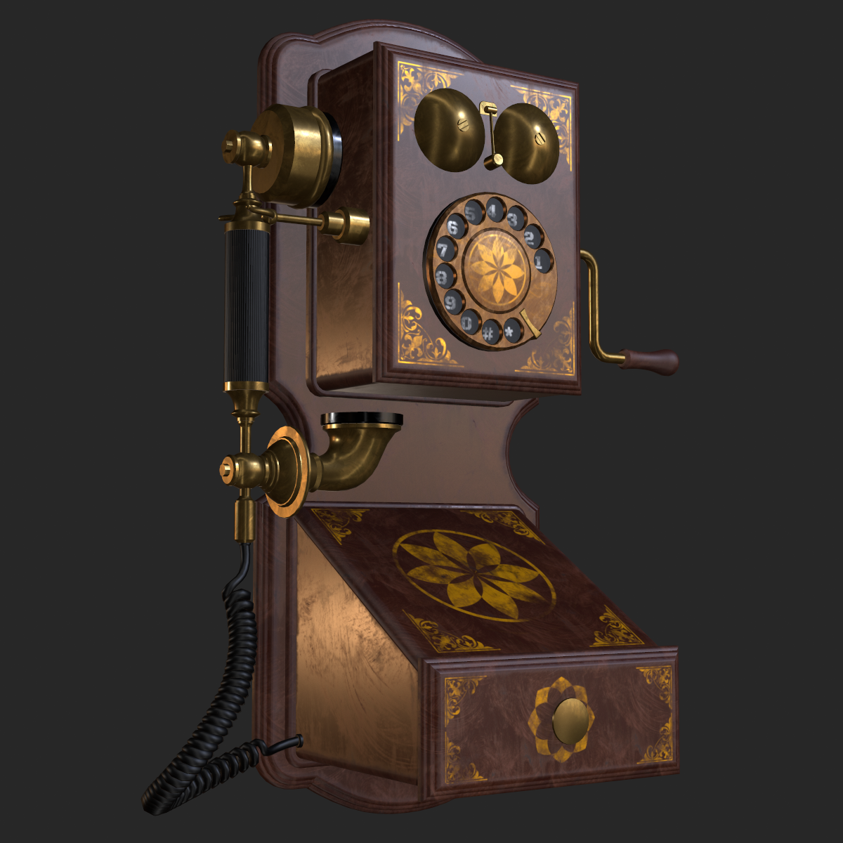 Old Antique Wall Phone Pbr By Movart