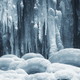 icicles on frozen waterfall in winter background - PhotoDune Item for Sale