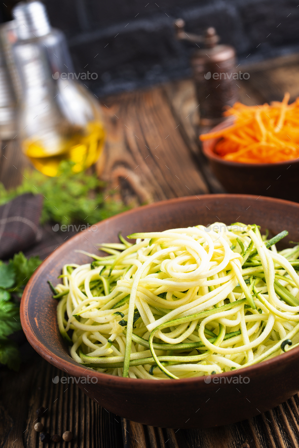 Zucchini noodles - Stock Photo - Images