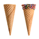 ice cream cones with chocolate and sprinkles isolated on white background - PhotoDune Item for Sale