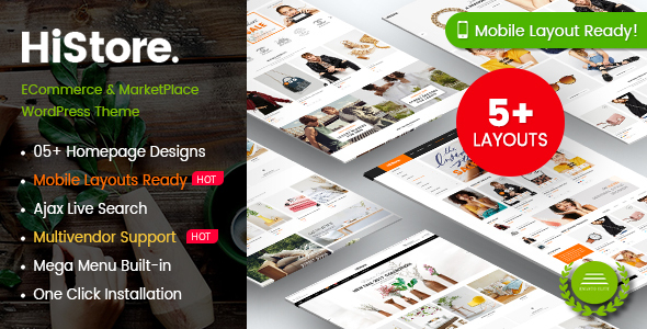 HiStore - Fashion Shop, Furniture Store eCommerce MarketPlace WordPress Theme (Mobile Layouts Ready)