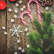 Wood dark background with Christmas tree, candies, cookies, mars - PhotoDune Item for Sale