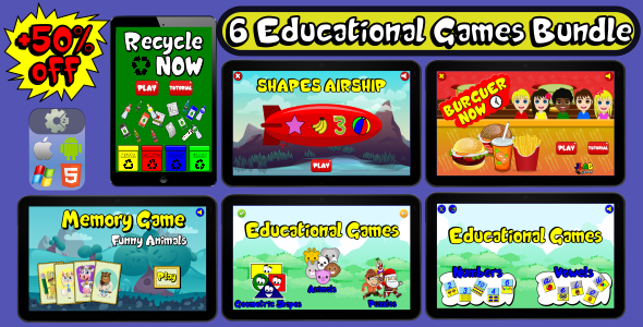 6 Educational Games Bundle