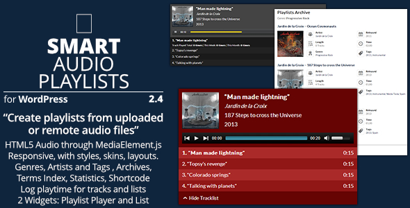 Smart Audio Playlists - Plugin for WordPress playlists management - Preview Image