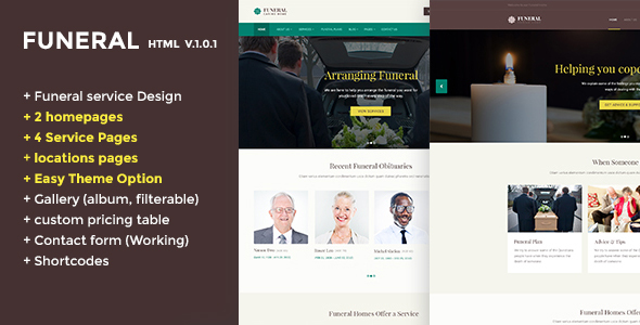 Funeral Caring Home Service Website Template