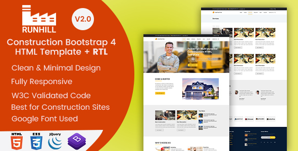 Runhill - Construction and Builders HTML Template