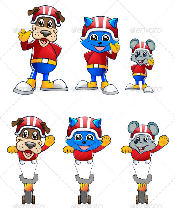 Cat, Mouse and Dog Mascot Character - Characters Vectors