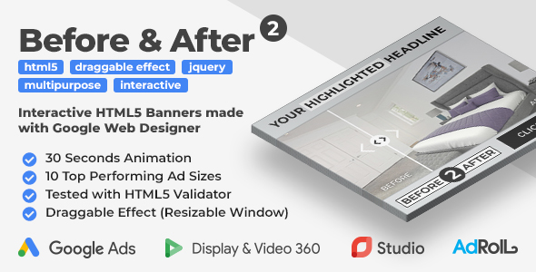 Before & After 2 - Interactive Animated HTML5 Banner Ad Templates (GWD, jQuery)