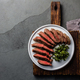 Medium beef steak on white plate, slate background. Top view - PhotoDune Item for Sale