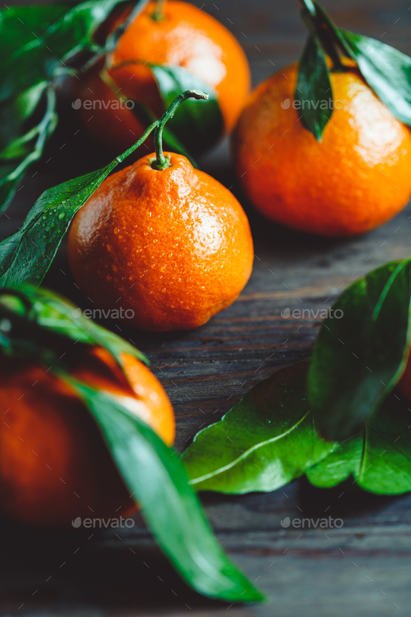 Tasty clementines on a table. Macro food photography. - Stock Photo - Images