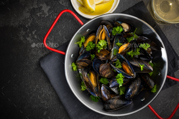 Seafood Dish, Mussels with Parsley,Lemon and White Wine, Top Vie - Stock Photo - Images